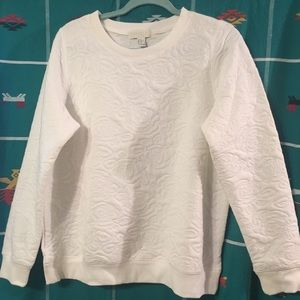 NWT XL Forever21 white quilted roses sweatshirt